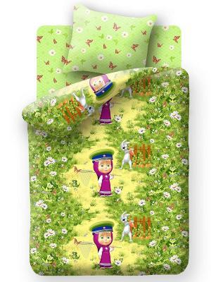 Комплект постельного белья Маша и медведь. Цвет: зеленый, фуксия, желтый