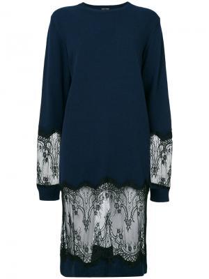 Платье-свитер с кружевными вставками Each X Other. Цвет: синий