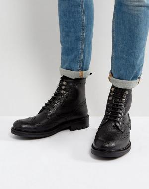 WALK LONDON Кожаные ботинки броги Sean. Цвет: черный