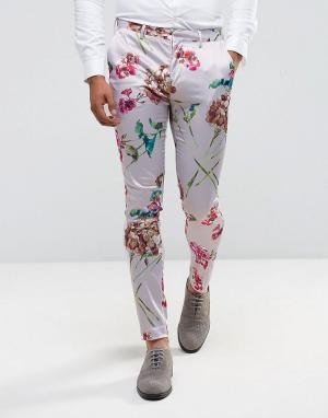 ASOS Супероблегающие брюки с розовым цветочным принтом. Цвет: розовый