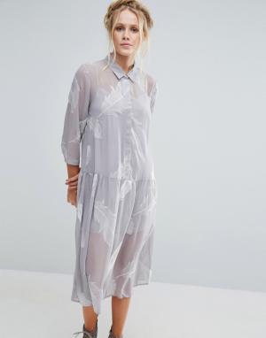 Little White Lies Платье-рубашка с принтом Pookie. Цвет: серый