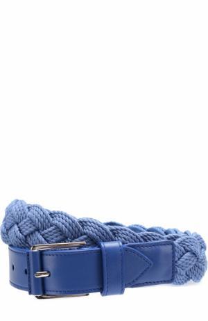 Плетеный текстильный ремень с отделкой из натуральной кожи Loro Piana. Цвет: голубой