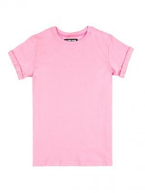 Женская футболка с подвернутыми рукавами прямого фасона Eniland. Цвет: розовый