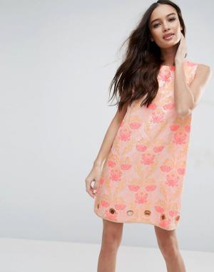 Clover Canyon Жаккардовое платье с цветочным узором. Цвет: розовый
