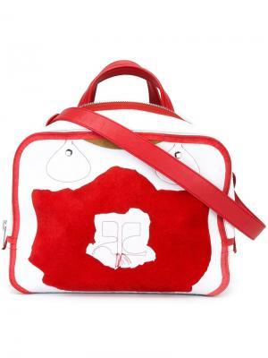 Двухцветная сумка-тоут Courrèges. Цвет: красный