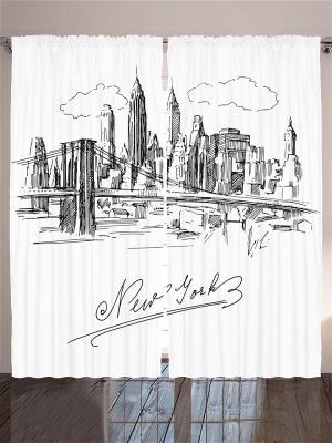 Фото штор белый Рисунок чёрной тушью: город Нью-Йорк Magic Lady. Цвет: белый, серый, черный