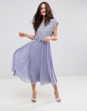 ASOS Приталенное платье миди с декорированным кроп-топом. Цвет: фиолетовый