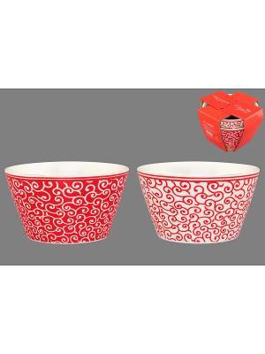 Набор салатников  Арабески бело-красные Elan Gallery. Цвет: белый, красный