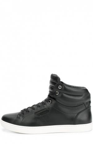 Высокие кожаные кеды London на шнуровке Dolce & Gabbana. Цвет: черный