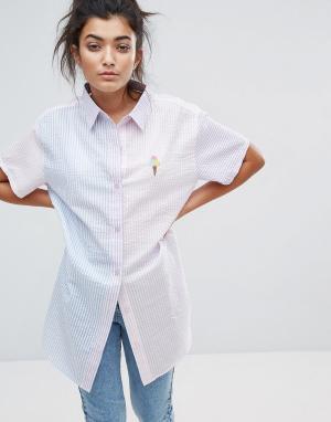 Lazy Oaf Рубашка в тонкую полоску Sorbet. Цвет: мульти