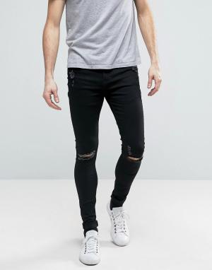 Brooklyn Supply Co. Обтягивающие джинсы скинни с потертостями Co. Цвет: черный