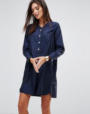 YMC Поплиновое платье в спортивном стиле. Цвет: темно-синий