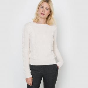 Пуловер с узором косы, длинные рукава La Redoute Collections. Цвет: желтый,слоновая кость