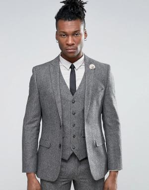 Harry Brown Твидовый пиджак с добавлением шерсти. Цвет: серый