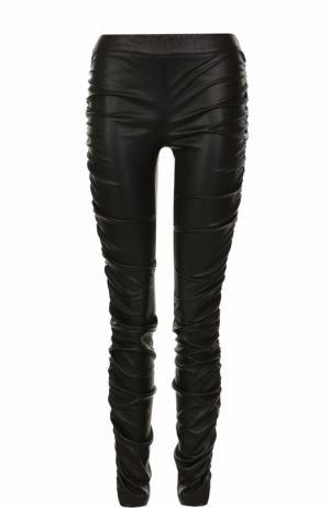 Кожаные брюки-скинни с драпировкой The Row. Цвет: черный
