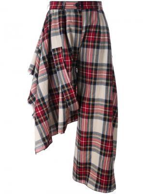 Асимметричные брюки в клетку Area Di Barbara Bologna. Цвет: многоцветный