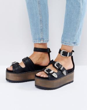 Raid Черные сандалии в стиле вестерн Reford. Цвет: черный