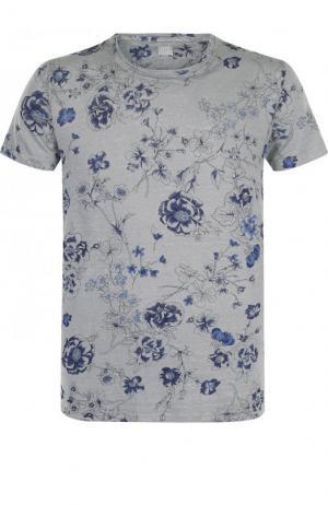 Льняная футболка с принтом 120% Lino. Цвет: серый