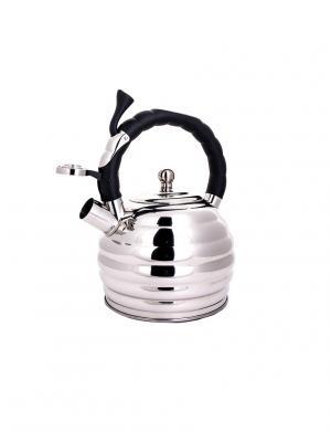 Чайник со свистком с 3-х слойным капсульным дном (газ/электро/индукция), 3,3 л HOFFMANN. Цвет: черный, серебристый