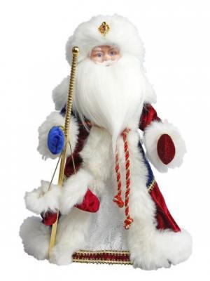 Дед Мороз Боярский 40 см, мех., муз., песня В лесу родилась елочка Новогодняя сказка. Цвет: синий, белый