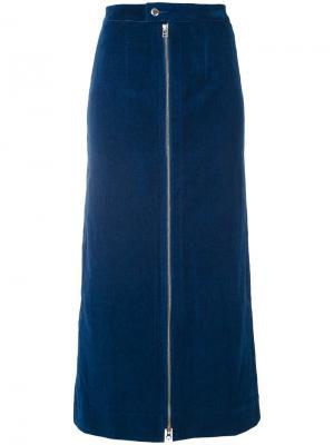 Джинсовая юбка на молнии Eckhaus Latta. Цвет: синий