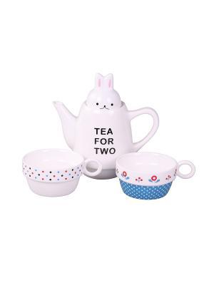 Набор: чайник, чашка 2 шт., 500 мл. 8,5*22 см. PATRICIA. Цвет: белый, синий