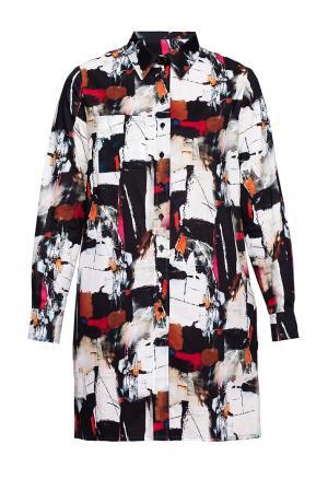 Удлиненная рубашка с абстрактным принтом 190621 Cyrille Gassiline. Цвет: разноцветный