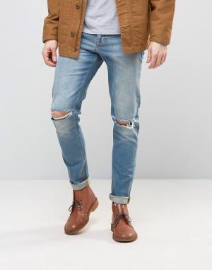 ASOS Голубые джинсы скинни плотностью 12,5 унций с прорехами на коленях ASO. Цвет: синий