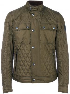 Стеганая куртка с воротником-стойкой Belstaff. Цвет: зелёный