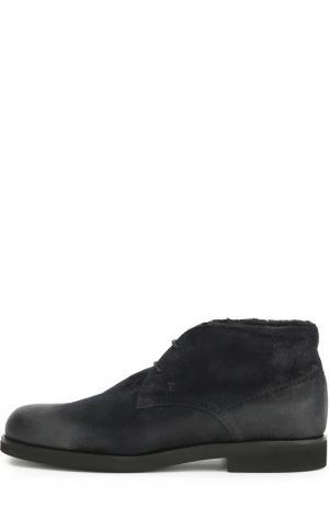 Замшевые ботинки с внутренней отделкой из овчины Tod's. Цвет: темно-синий
