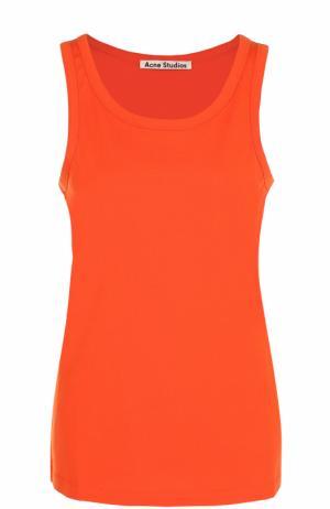 Хлопковый топ с круглым вырезом Acne Studios. Цвет: оранжевый
