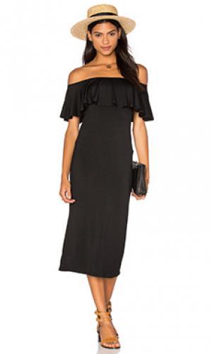 Миди платье с рюшами Rachel Pally. Цвет: черный