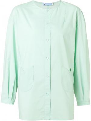 Рубашка без воротника Minjukim. Цвет: зелёный