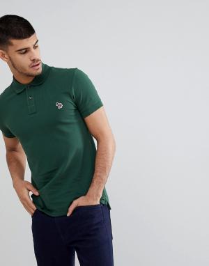 PS Paul Smith Зеленое поло узкого кроя с логотипом-зеброй. Цвет: зеленый