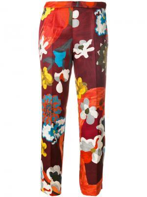Укороченные брюки с цветочным принтом Prada. Цвет: многоцветный
