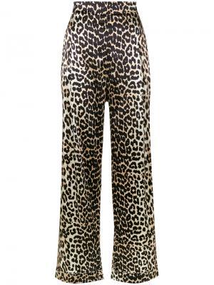 Широкие брюки Dufort с леопардовым рисунком Ganni. Цвет: чёрный