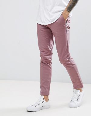 Burton Menswear Розовые зауженные чиносы. Цвет: розовый