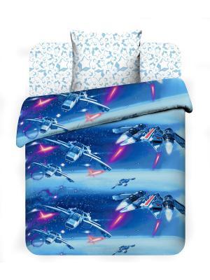 Комплект постельного белья из бязи 1,5 спальный Василек. Цвет: синий