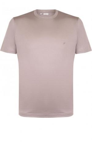 Хлопковая футболка с круглым вырезом Brioni. Цвет: бежевый