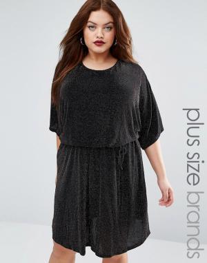 Club L Платье-кимоно из блестящей ткани Plus. Цвет: черный