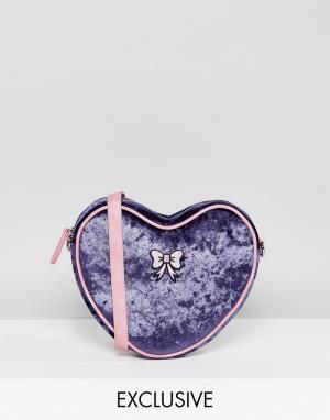 Lazy Oaf Бархатная сумка в форме сердца с ремешком через плечо и бантиком. Цвет: фиолетовый