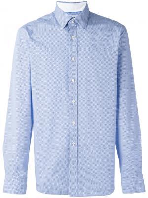 Рубашка с геометрическим узором Hackett. Цвет: синий