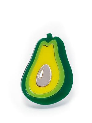 Брошь Авокадо развернутая НечегоНадеть. Цвет: зеленый, желтый, золотистый