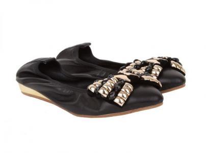 Черные балетки на небольшой танкетке от бренда Sandra Valeri RODOLFO