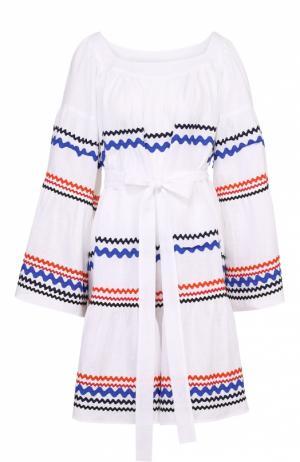 Льняное мини-платье свободного кроя с контрастной отделкой и поясом Lisa Marie Fernandez. Цвет: белый