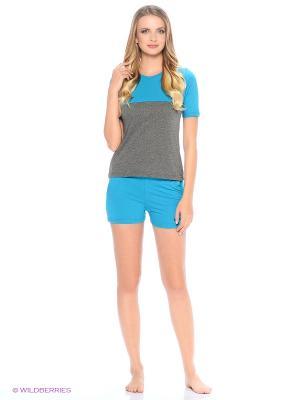 Комплект домашней одежды ( футболка, шорты) HomeLike. Цвет: бирюзовый, серый