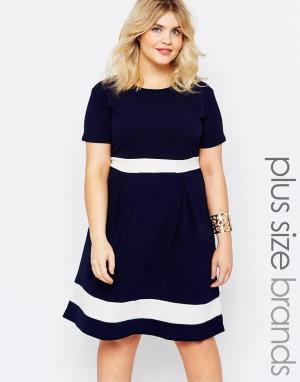 Praslin Короткое приталенное платье размера плюс. Цвет: темно-синий