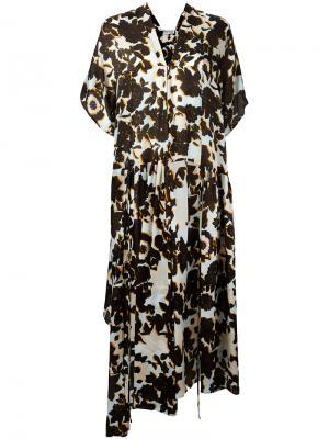 Платье с цветочным узором Christian Wijnants. Цвет: синий