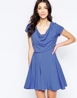 Wal G Приталенное платье с драпированным топом. Цвет: фиолетовый
