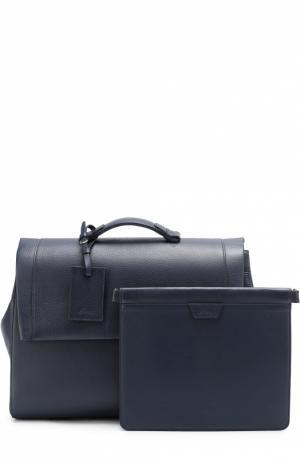 Комплект из кожаного портфеля и папки для бумаг Brioni. Цвет: темно-синий